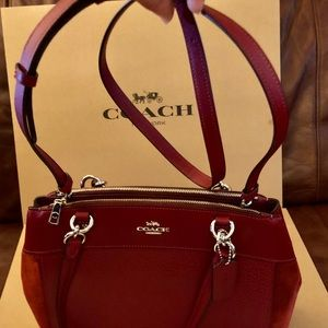 Coach Leather Suede Cherry Shoulder F31418